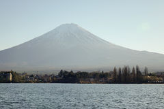 Kawaguchi lake and Mount Fuji in Japan. Kawaguchi lake and Mount Fuji at the sunset in Japan royalty free stock photo