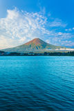 Kawaguchi Lake Mount Fuji View Blue Sky Morning V Stock Image