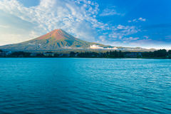 Kawaguchi Lake Mount Fuji View Morning Blue Sky H Royalty Free Stock Photography