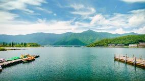 Kawaguchi Lake with Mountain in Japan Stock Image