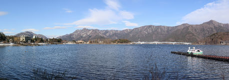 Kawaguchi Lake, Yamanashi, Japan. A Panorama view of Kawaguchi Lake, Yamanashi, Japan. A famous place among tourists Stock Images