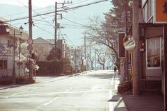 Kawaguchiko街道在山梨,日本 库存图片
