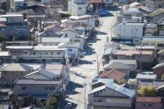 KAWAGUCHIKO, JAPÓN - 19 DE FEBRERO DE 2016: paisaje urbano de Shimoyoshi Fotografía de archivo