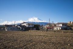 KAWAGUCHIKO, JAPAN - FEBRUARI 19, 2016: Wi van het Shimoyoshidadorp Stock Foto