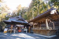 KAWAGUCHIKO, JAPAN - FEBRUARY 19, 2016 : Arakura Sengen Shrine l. Ocated near the Chureito Pagoda, landscape Stock Photos