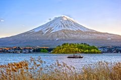 Kawaguchiko lake and Fuji mountain Japan, in winter. Shoot from lake side Royalty Free Stock Photography