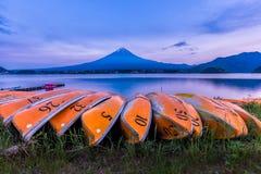 Kawaguchiko lake and Mount Fuji san after sunset, Yamanashi, Jap. An Stock Photos