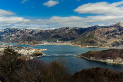 Kawaguchiko Lake. Sightseeing from top of ropeway Royalty Free Stock Photography