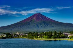 View to Mount Fuji in Summer with blue sky and clouds water lake Royalty Free Stock Photos