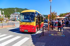 Kawaguchiko omnibus is yhe mini bus  in Kawaguchiko. It`s a railway station on the Fujikyuko Line in Fujikawaguchiko, operated by. YAMANASHI, Japan - October 20 Royalty Free Stock Image