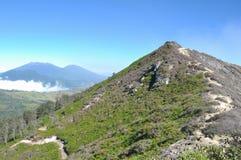Kawah ijen火山横向,印度尼西亚 免版税库存照片