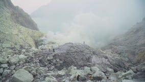 Kawah Ijen, ηφαιστειακός κρατήρας, όπου το θείο εξάγεται Στοκ Φωτογραφία