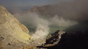 Kawah Ijen, ηφαιστειακός κρατήρας, όπου το θείο εξάγεται Στοκ Εικόνα