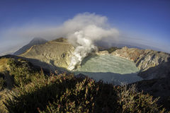 Kawah Ijen Crater at sunrise panoramic view, Indonesia. royalty free stock photo
