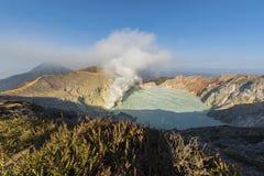 Kawah Ijen Crater at sunrise panoramic view, Indonesia royalty free stock image