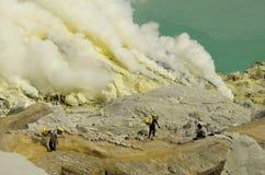 Kawah Ijen. Hard working Kawah Ijen volcano Indonesia Java Island Royalty Free Stock Photo