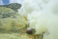 Kawah Ijen - Inside the Volcanic Crater. Sulfur Outcrop - inside the volcanic crater - kawah Ijen stock photography