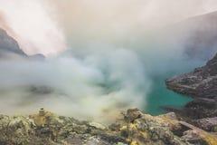Kawah Ijen powulkaniczny krater Zdjęcie Stock