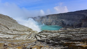 Kawah Ijen volcanic crater emitting sulphuric gas Royalty Free Stock Images