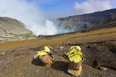 Kawah Ijen volcanic crater emitting sulphuric gas Royalty Free Stock Photo