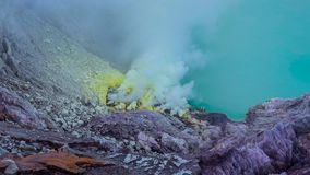 Kawah Ijen Volcano Crater Landmark Nature Travel Place Of Indonesia 4K Time Lapse