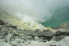 Kawah Ijen volcano - East Java Stock Photos