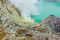 Kawah Ijen Volcano in East Java , Indonesia Stock Images