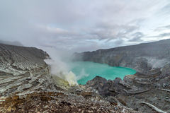 Kawah Ijen Volcano is a stratovolcano in the Banyuwangi Regency Stock Images