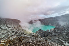 Kawah Ijen Volcano is a stratovolcano in the Banyuwangi Regency Stock Image