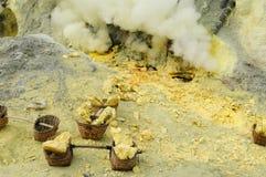 Kawah Ijen - vulcano van de zwavel, Indonesië, het Oosten Jawa Royalty-vrije Stock Foto