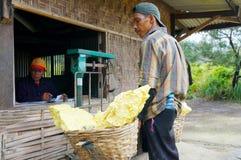 Kawah ijen worker sulphur Stock Photo