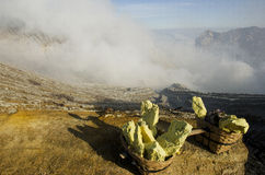 Kawah Ijen volcano. Piece of suphur on Kawah Ijen volcano Indonesia Java Island Royalty Free Stock Photography