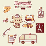 Kawai animals doctor`s set Royalty Free Stock Image