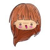 kawaii头逗人喜爱的女孩色的蜡笔剪影有长发和愤怒的表情的 皇族释放例证