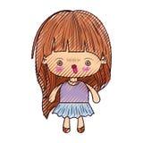 kawaii女孩色的蜡笔剪影有的长发和愤怒的表情的 皇族释放例证