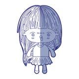 kawaii女孩蓝色遮蔽的剪影有的长发和愤怒的表情的 向量例证