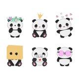 Kawaii熊猫亚洲动物传染媒介集合 向量例证