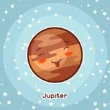 Kawaii空间卡片 与相当表情的乱画 动画片木星的例证在满天星斗的天空的 皇族释放例证