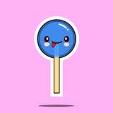 Kawaii糖果棒棒糖字符动画片意思号面孔象 免版税库存照片