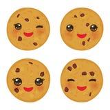 Kawaii被设置新近地被烘烤的巧克力曲奇饼隔绝在白色背景 与桃红色面颊和眼睛的逗人喜爱的面孔 明亮的颜色 v 皇族释放例证