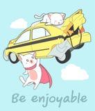 Kawaii超级猫举在动画片样式的汽车 库存例证