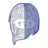 kawaii顶头女孩蓝色遮蔽的剪影有的长发和愤怒的表情的 皇族释放例证