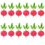 Редиска Милый набор символов вектора овоща мультфильма изолированный на белизне иллюстрация вектора