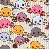 与逗人喜爱的蜘蛛的无缝的kawaii动画片样式 免版税图库摄影