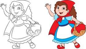 Kawaii adorabile prima e dopo l'illustrazione di poco cappuccio di guida rosso, nel contorno e nel colore perfetti per il libro d illustrazione di stock