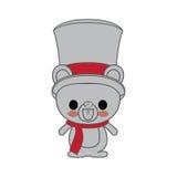 Kawaii animal style with Christmas theme  icon design Stock Image