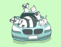 Kawaii animals and blue auto car in cartoon style vector illustration