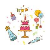 Kawaii-Art-Geburtstagsgekritzel lokalisiert auf weißem Hintergrund stock abbildung
