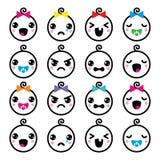 Kawaii baby boy and girl cute faces icons set Royalty Free Stock Photos