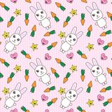 Kawaii background with cute bunnies.  Royalty Free Stock Images